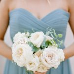 blue bridesmaid dress and bouquet from Elegant Fusion Wedding