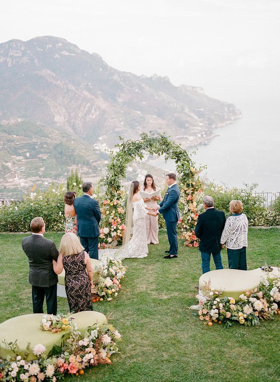 An intimate wedding overlooking the ocean in Ravello, Italy