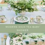 A college of images from a Modern High Tea Baby Shower
