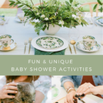 A collage of activities and ideas from this modern backyard baby shower.