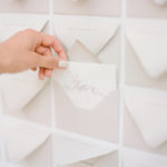 Guests find their names printed on the envelope flap of this striking envelope escort card display and open it to find their table assignment inside.